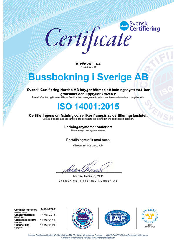 ISO14001:2015 Certifikat